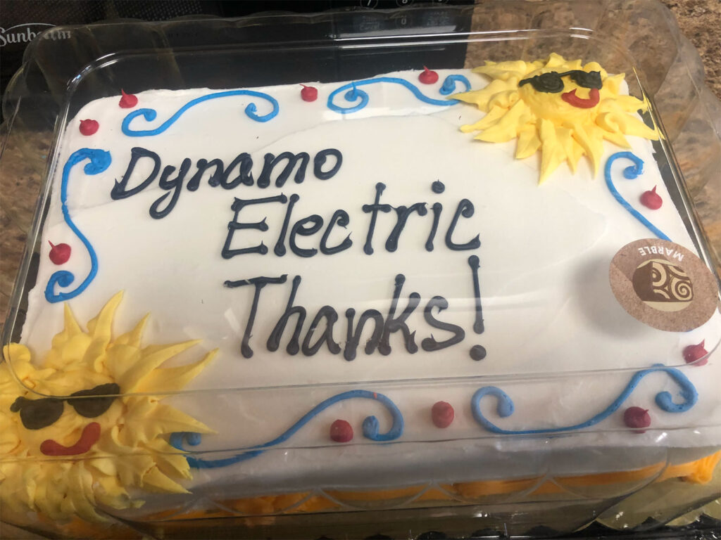 Review or testimonial cake given to Dynamo Electric Williamsburg Virginia